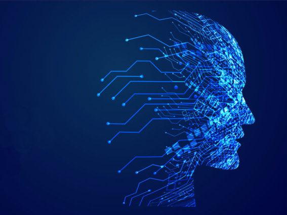 digital technology face artificial intelligence concept design
