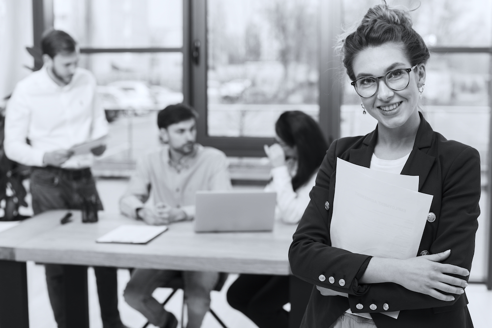front-view-of-human-resources-woman-posing-in-the-office