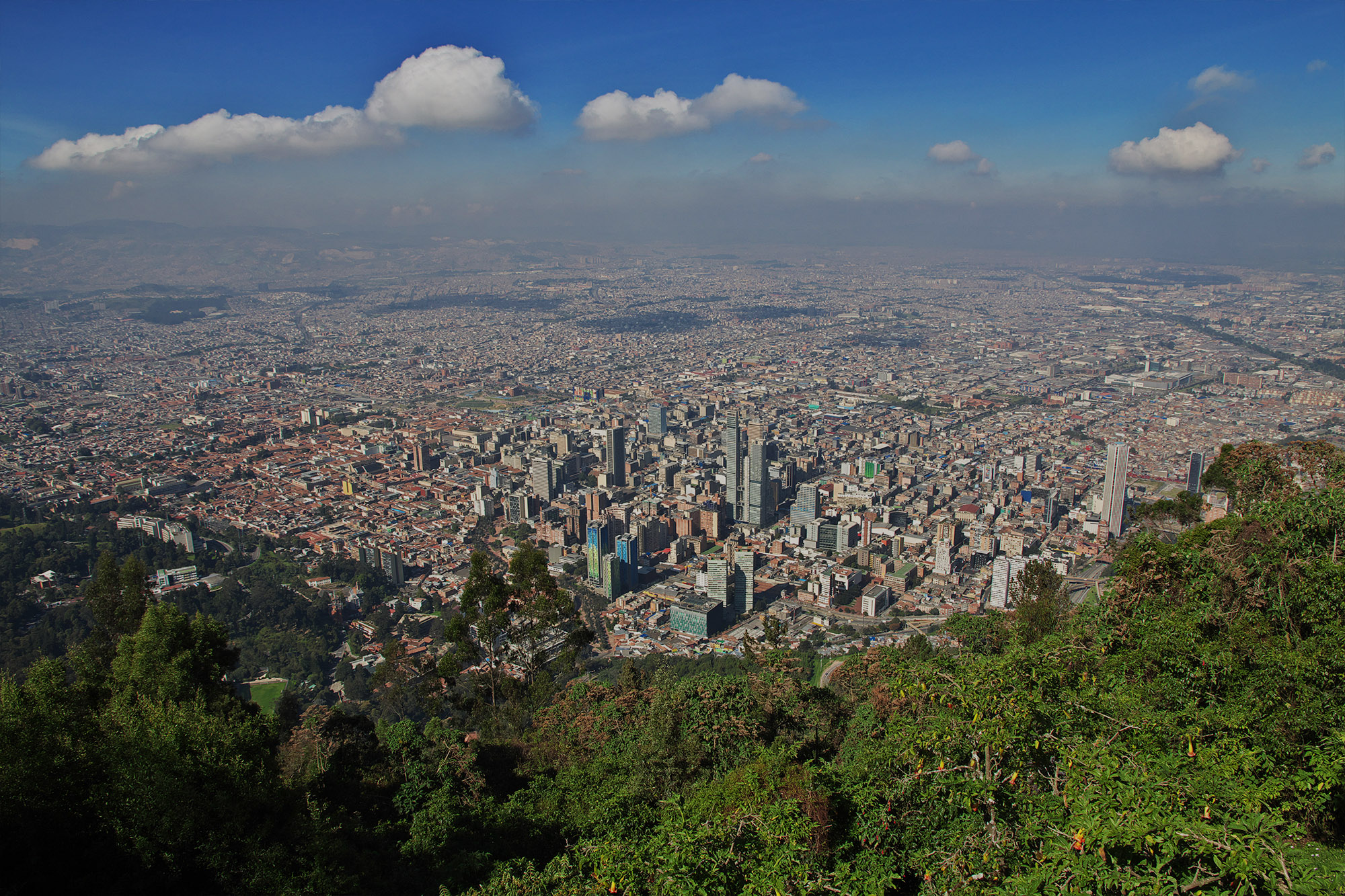 The view on Bogota from Mount Montserrat, Colombia