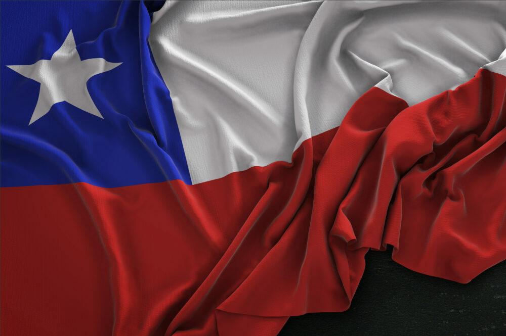 Chile Flag Wrinkled On Dark Background 3D Render
